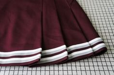 90's Cheerleader Skirt Wine Red Stripes Pleated by TearsMachine
