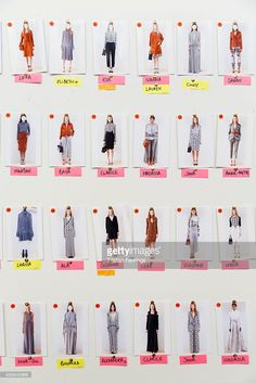 A model board backstage ahead of the DAKS show during London Fashion Week Spring/Summer 2016 on September 18, 2015 in London, England.