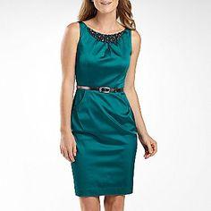 Nine & Co.® Beaded Neck Sheath Dress w/Belt - jcpenney, $45