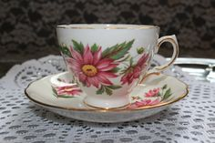 Vintage 1950s Royal Vale England Tea Cup Saucer Bone China Set Gold Trim Collectible Pink Flowers Floral Mid Century Serving Dining by TresorsEnchantes on Etsy