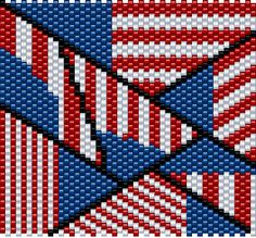 American Flag Lighter Cover Pattern seed bead by GigglesBeads