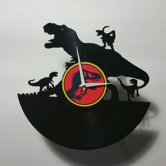 T-rex Vs Raptors Record Clock by High5Design on Etsy