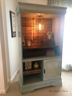 SOLD Armoire Bar Coffee Cabinet with electrical (With images) Refurbished Furniture, Repurposed Furniture, Painted Furniture, Armoire Makeover, Furniture Makeover, Furniture Projects, Diy Furniture, Armoire Cabinet, Tall Tv Cabinet