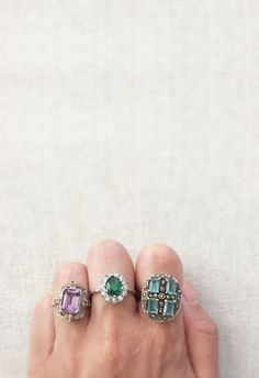 #ArtDeco Vintage Rings #emerald  #aqua