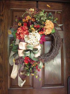 Fall wreaths, Fall door wreath, Fall initial wreath, Orange and green, Autumn wreath, Fall decor, Harvest, Elegant, Fall grapevine, Monogram