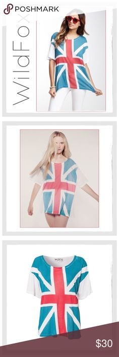 "✨WildFox Unisex Union Jack Tee Shirt✨ ✨WildFox Unisex Union Jack Tee Shirt✨Fun And Funky WildFox Union Jack Tee✨Big Bold Union Jack Flag Covers The Front And The Back Is Solid White✨Very Oversized Fit✨This Is A Size 2 which Means in Wildfox Sizing it is A Large/XLarge✨Approx Measurements:Bust-23"" Across/Length-28""✨Fits X-Large Best✨Fabric: 50% Cotton/50% Polyester✨Gently Loved But No Stains, Rips Or Damage✨Slight Fade To Graphic Which Gives It A Cool Vintage Appeal✨ Wildfox Tops Tees - Short…"