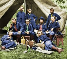Shorpy Historical Photo Archive :: Custer and His Dog (colorized) 1862 Staff officers