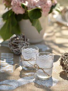 """Teelichthalter """"Edle Spitze"""" 6,5 cm Dekobeispiel #Hochzeitstrend #Farbtrend #Hochzeit2017 #Dekotrend #Trend2017 #rustikal #Farmhaushochzeit"""