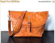 SUMMER SALES Tanned color  Genuine Leather messenger