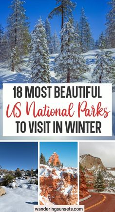 18 Most Beautiful US National Parks to Visit in Winter. The US has some of the finest natural landscapes in the world and for those that love the wild outdoors, visiting just one of their stunning national parks is a must. Check out these most beautiful US National Parks to visit in winter. | Best National Park to Visit in Winter | National Park Winter | US National Parks | USA Winter | Grand Canyon in Winter | Yosemite National Park Winter | Beautiful Places To Visit, Cool Places To Visit, Places To Travel, Travel Destinations, Winter Travel, Winter Road, Holiday Travel, Travel Inspiration, Travel Ideas