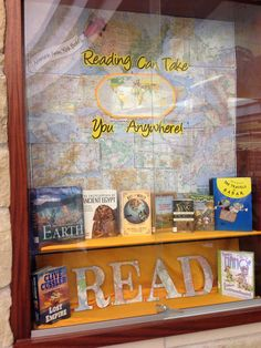 Library Display: Reading Can Take You Anywhere. From the Azle Memorial Library (TX). Library Games, Library Work, Library Boards, Library Design, Shelf Decorations, Library Decorations, Library Inspiration, Library Ideas, School Themes