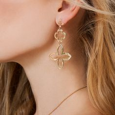 Modular openwork earrings suit the XXL jewelry trend! Gold-plated or silver - will be great gift for Women's Day. #lilou #lily #cloverleaf #openwork #earrings #international #womensday