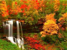autumn mountains waterfall | Autumn Waterfall