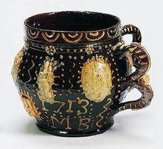 Wrotham slipware large two-handled cup or tyg prob. by John Eaglestone, England 1713 Glazes For Pottery, Ceramic Pottery, Ceramic Art, Antique Pottery, Handmade Pottery, Earthenware, Stoneware, Mugs And Jugs, Old Crocks