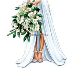 What flowers and colours was your bouquet made of / what's your dream bouquet? Wedding Illustration, Illustration Fashion, Wedding Prints, Fashion Sketches, Shoe Sketches, Large Prints, Bride Gifts, Dreaming Of You, Bridal Shower