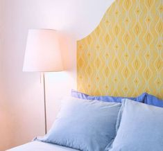 [Note to self: Temp wallpaper headboard] A New Headboard by Bedtime: 12 Unusual & Affordable DIY Headboard Ideas Herringbone Headboard, Faux Headboard, Painted Headboard, Headboard Shapes, Headboard Ideas, Wallpaper Headboard, Diy Wallpaper, Temporary Wallpaper, Homemade Headboards