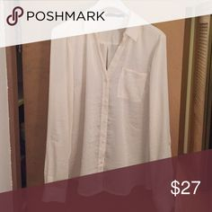Gorgeous blouse! Pearl colored blouse. Has a satin feel to it. 100% polyester. Worn once! Brand new condition. The Limited Tops