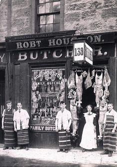 Képtalálat a következőre: butcher store front Butcher Store, Meat Butcher, Old Pictures, Old Photos, Glasgow Museum, High Street Shops, Cheese Shop, Shop Fronts, Meat Lovers