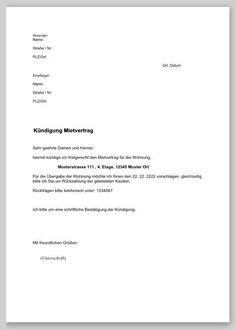 Kundigung Mietvertrag Vorlagen Zur Wohnungskundigung 15