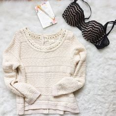 Moth Sandstripe Pullover SUCH a sweet sweater! A beautiful cream color, with buttons running up the back. Some signs of wear, especially under arms/ sides (pictured). Runs a tad small Anthropologie Sweaters Crew & Scoop Necks