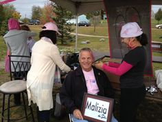 Sales Consultant Marty Mckenna at one of the booths at the South Suburban Making Strides Against Breast Cancer 5k walk in Orland Park