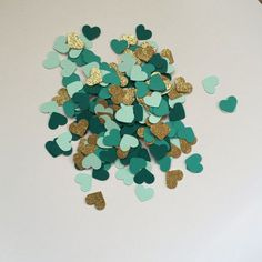 Confetti Hearts: Gold Glitter Dark Teal, Turquoise, and Mint Green| Emerald and gold Wedding Color Ideas | Custom Confetti by WildfireEvents on Etsy