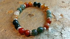 Handmade stretch bracelet natural faceted moss by RainbowReikiMJ