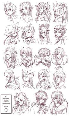 Inspiration: Hair & Expressions ----Manga Art Drawing Sketching Head Hairstyle---- [[[Batch6 by omocha-san on deviantART]]]