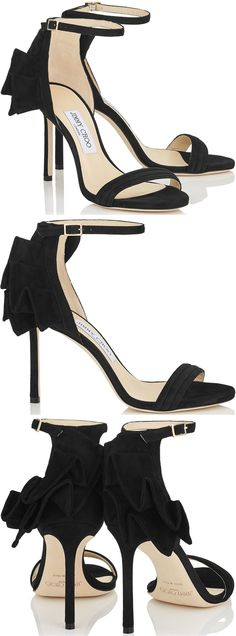 This delicate strappy sandal from the Jimmy Choo Cruise 2017 collection comes with a dramatic twist. It has flamboyant fan detailing at the ankle in the same tonal material that covers the upper. This pleating is created in Italy entirely by hand.