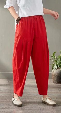 2019 summer red women linen harem pants loose slim casual pants – Linen Dresses For Women Cotton Pants, Linen Pants, Silk Pants, Cotton Silk, Salwar Designs, Blouse Designs, Fashion Pants, Fashion Outfits, Salwar Pattern