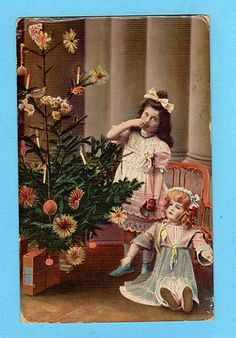 1910s Old R Photo Postcard Girl w Antique Heubach Doll Xmas Tree w Ornaments | eBay