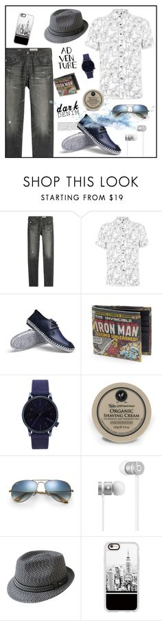 """""""Adventure"""" by biange ❤ liked on Polyvore featuring AG Adriano Goldschmied, Topman, Komono, Taylor of Old Bond Street, Ray-Ban, Beats by Dr. Dre, Bailey, Casetify, men's fashion and menswear"""