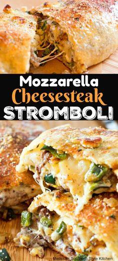 Mozzarella Cheesesteak Stromboli Food Recipes For Dinner, Food Recipes Keto Top Recipes, Beef Recipes, Italian Recipes, Dinner Recipes, Cooking Recipes, Healthy Recipes, Healthy Food, Beef Dishes, Food Dishes