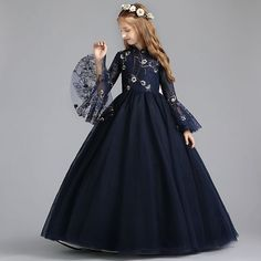 Chinese style Navy Blue Flower Girl Dresses 2019 A-Line / Princess High Neck Long Sleeve Embroidered Flower Pearl Floor-Length / Long Ruffle Wedding Party Dresses – Flower Girl Dresses Long Frocks For Girls, Gowns For Girls, Girls Party Dress, Little Girl Dresses, Girls Dresses, Flower Girl Dresses, Party Dresses, Style Chinois, Wedding Dresses For Kids