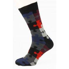 Black Puzzle Men Socks