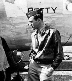 "Colonel James Stewart of the 445th Bomber Group. But you probably know him as actor Jimmy Stewart. ""Jimmy Stewart's Finest Performance,""   Enter our Tribute to Our Troops contest: https://apps.facebook.com/easypromos/promotions/79941"