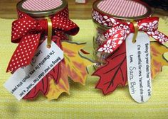 Fall Thankful Jars- Ideas for sayings to go along with different treats.