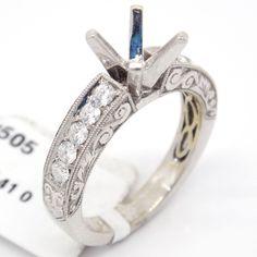 Classic 18k White Gold 0.41tcw Pave Diamond Engagement Semi Mount Bridal Ring,7