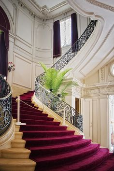 Romantic staircase at Rosecliff Mansion, Newport RI