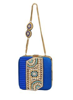 Meera Mahadevia | Dazzling Blue Clutch at strandofsilk.com