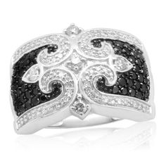 SALE!! 10k White Gold Black and White Diamond Ring (1.00 cttw, I-J Color, I2-I3 Clarity) REVIEW