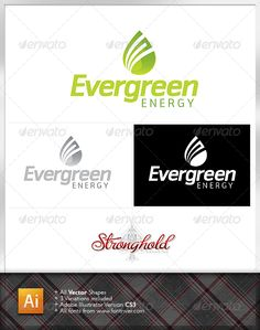 Evergreen Energy Logo  #GraphicRiver         Stronghold Branding:  	 About: Think green with this sleek earth first concept… great for use in a number of business applications.  	 Fonts: 1. (Nuri):  .fontshop /fonts/downloads/gestalten/nuri/  	 All parts are vector format which makes them easy to edit, adjust and scale to any and all sized projects.     Created: 9January12 GraphicsFilesIncluded: VectorEPS Layered: No MinimumAdobeCSVersion: CS3 Resolution: