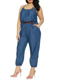 3826dfaf508 Plus Size Belted Denim Jumpsuit - DARK WASH - Size 1X Plus Size Belts