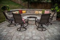 This customer really personalized her fire pit sitting area with some colorful pillows! Paver Fire Pit, Fire Pit Backyard, Indoor Outdoor Living, Outdoor Decor, Outdoor Fire, Outdoor Projects, Outdoor Ideas, Pittsburgh, Fire Pit Sets