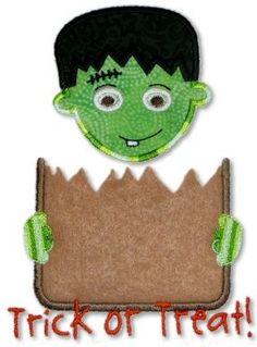 Treat Pocket Frankenstein Applique 5x7 6x10