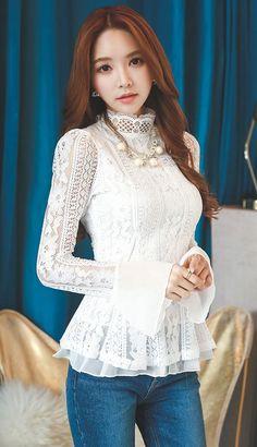 StyleOnme_Chiffon Sleeve Laced Blouse #blouse #flaredcuffs #cuffs #laced #feminine