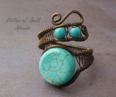 Adjustable ring / Copper Wire Wrapped Ring / by PillarOfSaltStudio