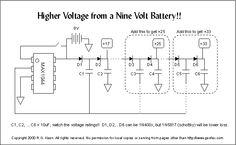 One 9V battery gives +18, +25, +33V