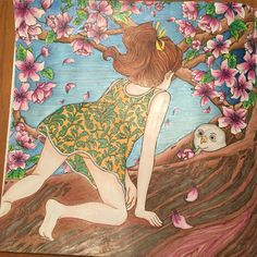 One of my favorites I did with Prismacolor pencils and metallic marker for the background. The Time Garden by Daria Song