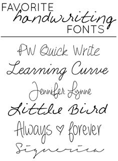 """Favorite """"handwriting"""" style fonts!"""